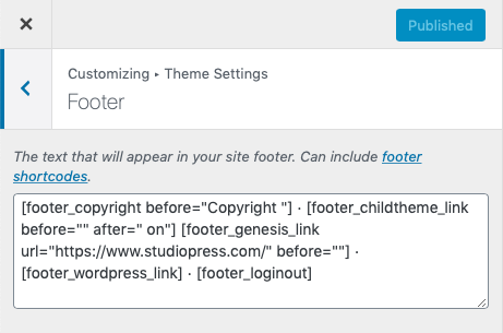 Change Footer Copyright Text