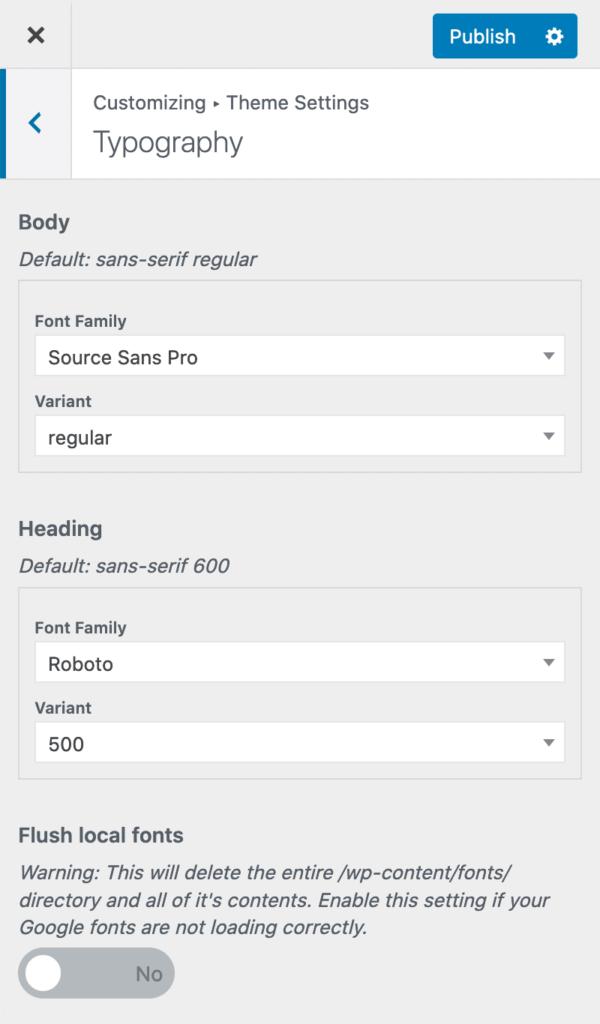 Mai Theme Typography settings